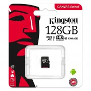 Micro SD 128Gb class 10 к/п Kingston UHS-I Canvas Select 80Mb/s
