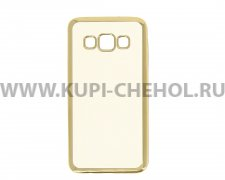 Чехол-накладка Samsung Galaxy A3 A300f Hallsen прозрачный с золотыми краями без логотипа