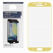 Защитное стекло Samsung Galaxy S7 Edge Red Line Full Screen 3D золотое 0.33mm