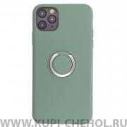 Чехол-накладка iP 11 Pro Max Derbi Slim Silicone-3 с кольцом мятно-зеленый
