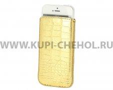 Чехол с внутренним языком Apple iPhone 5 / 5S Deluxe золотой крокодил