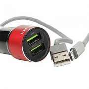 АЗУ 2USB+кабель USB-Micro LDNIO C303 1m Red