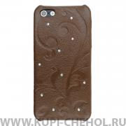 Чехол-накладка Apple iPhone 5/5S/SE Goethe коричневый кожа + стразы
