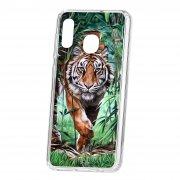 Чехол-накладка Samsung Galaxy A20 2019 Kruche Print Крадущийся тигр