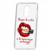 Чехол-накладка Samsung Galaxy A6 Plus (2018) A605f/J8 2018 Kruche Print Red lipstick