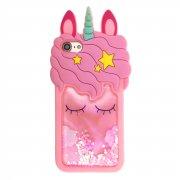 Чехол-накладка Apple iPhone 7/8 Единорог с переливающимися блестками светло-розовый