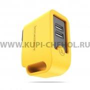 Сетевой адаптер 2USB 3.4A Hoco UH203 жёлтый