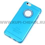 Чехол силиконовый Apple iPhone 6 / 6S 4.7 со стразами 8592 голубой