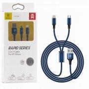 Кабель Multi USB-iP+Micro Baseus CAML-SU13 Blue 1.2m УЦЕНЕН