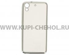 Чехол силиконовый HTC Desire 626 / 626G Hallsen прозрачный с серебристым краями без логотипа