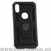 Чехол-накладка Apple iPhone X 42002 с кольцом-держателем черный