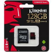 Micro SD 128Gb Class 10 к/п Kingston UHS-I U3 Canvas React V30 100Mb/s+адаптер
