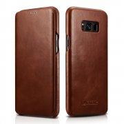 Чехол книжка Samsung Galaxy S8 Icarer коричневый из натуральной кожи