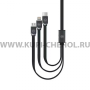 USB 3 в 1 Iphone 5/microUSB/Type-C WK WDC-010 Black 1m
