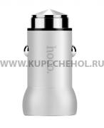 Автомобильный адаптер 2.1A 1 USB Hoco Z4 Qualcomm QC2.0 Silver