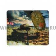 Мышка компьютерная проводная + коврик CBR Tank Battle 2704