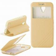 Чехол  откидной  Alcatel  6016X / 6014X  Armor Air Slim  Book  золот  с окном