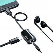 Аудио-переходник 2-in-1 iP(m)-iP(f)+jack 3,5mm(f) Baseus L32 Black