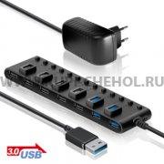 ХАБ USB-разветвитель GiNZZU GR-381UB на 13 портов + адаптер