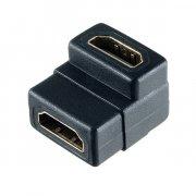 Переходник HDMI(F)-HDMI(F) Perfeo угловой черный