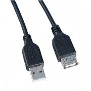 Кабель USB-USB(F) Perfeo черный 3m