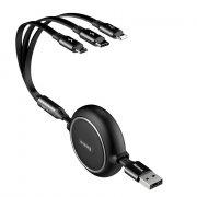 Кабель Multi USB-iP+Micro+Type-C Baseus Golden Loop Black 1.2m