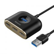 ХАБ USB-разветвитель 3 порта Baseus Square Round 4in1 Black 1m
