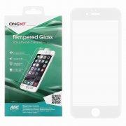 Защитное стекло Apple iPhone 6/6S Onext с силиконовыми краями белое 0.3mm