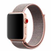 Ремешок для Apple Watch 42mm тканевый на липучке розовый