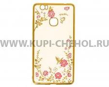 Чехол силиконовый Huawei Honor Note 8 Hallsen Shine прозрачный с золотыми краями _1