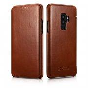 Чехол книжка Samsung Galaxy S9 Plus Icarer коричневый из натуральной кожи