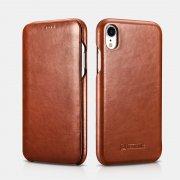 Чехол книжка Apple iPhone XR Icarer коричневый из натуральной кожи
