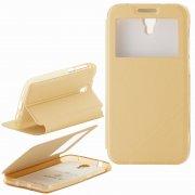 Чехол  откидной  Alcatel  6037B  Armor Air Slim  Book  золот  с окном