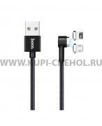 Кабель Multi USB-iP+Micro Hoco U20 L Shape Magnetic Black 1m