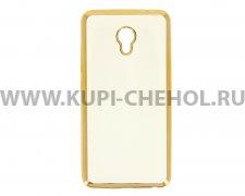 Чехол-накладка Meizu M3E Hallsen прозрачный с золотыми краями без логотипа