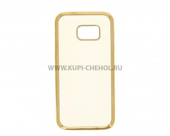 Чехол-накладка Samsung Galaxy S7 Hallsen прозрачный с золотыми краями без логотипа