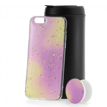 Чехол-накладка Apple iPhone 6/6S с попсокетом Yellow/Purple