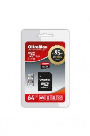 Micro SD 64Gb class 10 к/п Oltramax UHS-1 Premium 95Mb/s+адаптер