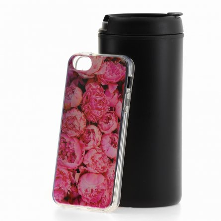 Чехол-накладка Apple iPhone 5/5S/SE Пионы розовые