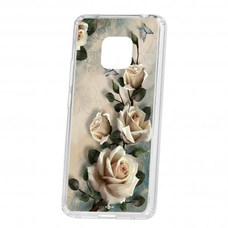 Чехол-накладка Huawei Mate 20 Pro Kruche Print Белые розы