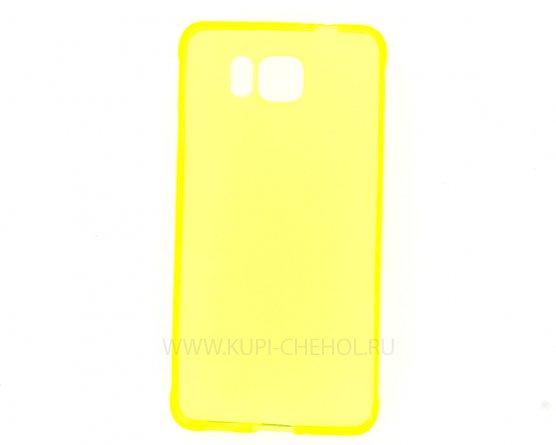 Чехол силиконовый Samsung Galaxy Alpha G850f жёлтый глянцевый 0.5mm