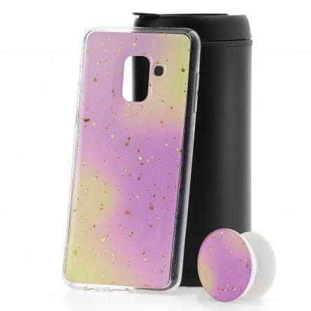 Чехол-накладка Samsung Galaxy A8 2018 (A530) с попсокетом Yellow/Purple