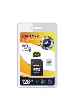 Micro SD 128Gb class 10 к/п Exployd UHS-1 Premium 95Mb/s+адаптер