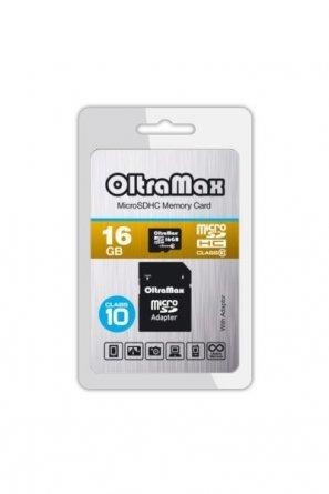 Micro SD 16Gb class 10 к/п OltraMax+адаптер