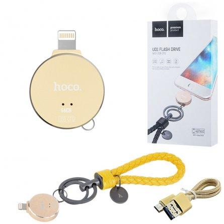 Флеш Hoco UD1 Flash Drive 64Gb Apple Lightning желтый