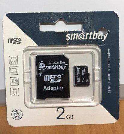 Micro SD 2Gb  к\п  SmartBuy + адаптер УЦЕНЕН