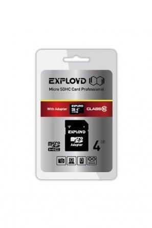 Micro SD 4Gb Class 10 к/п Exployd + адаптер SD