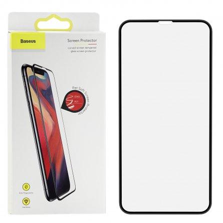 Защитное стекло iPhone XS Max/11 Pro Max Baseus Curved Tempered с силиконовой рамкой Black 0.23mm