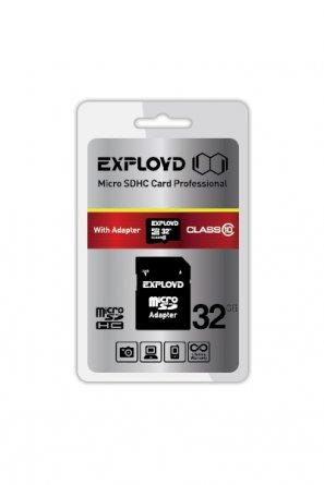 Micro SD 32Gb Class 10 к/п Exployd+адаптер SD