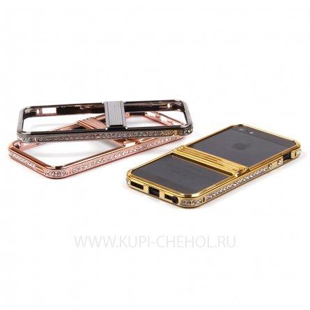 Чехол-бампер Apple iPhone 5 / 5S металл 8597 бронзовый